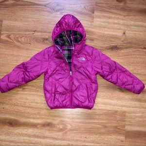Girls Pink Plaid Reversible North Face 6